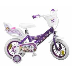 """Bicicleta pentru fetite 12"""", 3-5 ani, roti ajutatoare, cos de depozitare - Sofia the First"""