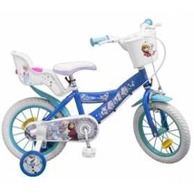 """Bicicleta pentru fetite 14"""", 4-7 ani, cu roti ajutatoare - Frozen"""