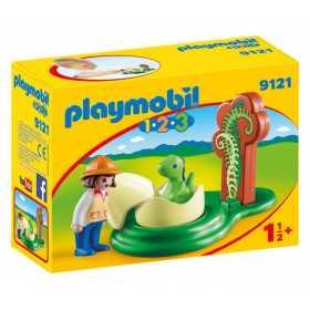 Set figurine Playmobil - 1.2.3 Fetita cu oul de dinozaur