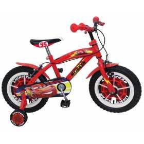 "Bicicleta pentru baieti Cars 14"", cadru din otel, roti pneumatice si roti ajutatoare"