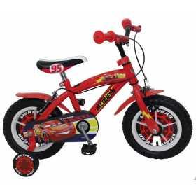 "Bicicleta pentru baieti Cars 12"", cadru din otel, roti pneumatice si roti ajutatoare"