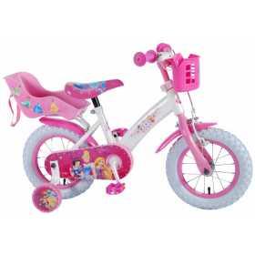 """Bicicleta pentru fete ajustabila din otel cu roti ajutatoare 12"""" EandL CYCLES Disney Princess Alb - Roz"""