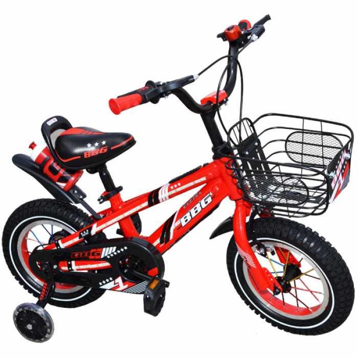 """Bicicleta pentru copii cu roti ajutatoare din silicon, sticla pentru apa, leduri si USB , 12"""" BBG Rosu"""