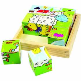 Puzzle cubic din lemn - Animalele fermei