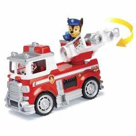 Figurina de jucarie cu masina de pompieri Marshall Paw Patrol Ultimate Rescue Salvarea suprema