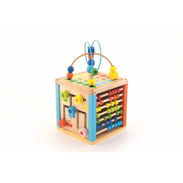 Cub educativ Trefl din lemn cu numaratoare, invatarea culorilor