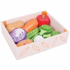 Cutiuta cu legume din lemn  de jucarie pentru activitati BigJigs 8 piese