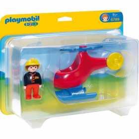 Set Playmobil Elicopter de pompieri cu figurina pilot