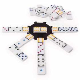 Joc Domino 6 culori pentru copii si familie in cutie de metal