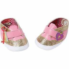 Pantofiori aurii cu roz pentru papusi, Baby Annabell