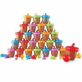 Set educativ pentru sortat si recunoasterea formelor si culorilor,Learning Resources Alfabet cu ghinde