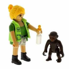 Set Figurina Playmobil Ingrijitor zoo cu pui de gorila