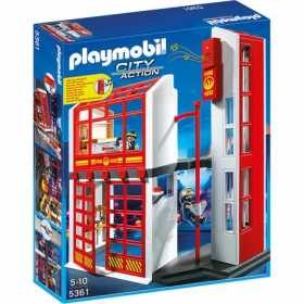 Set figurine Playmobil - Statie pompieri cu alarma si figurine pompieri