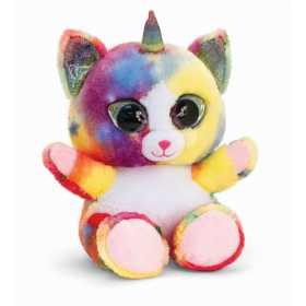 Jucarie de plus Animotsu - Pisica unicorn curcubeu  25 cm