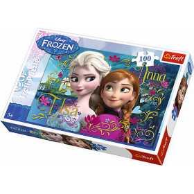 Puzzle clasic pentru copii - Ana si Elsa Regatul de Gheata 100 piese