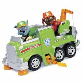 Figurina de jucarie cu masina de reciclat Rocky Paw Patrol Ultimate Rescue Salvarea suprema