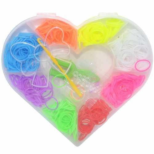 Set creativ pentru copii - Accesorii pentru realizarea bratarilor din elastic 330 piese Multicolor