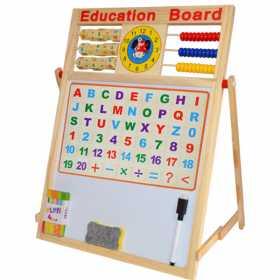 Tablita din lemn 2 fete cu socotitoare, litere si cifre magnetice 46,5 x 38,5 x 23 cm