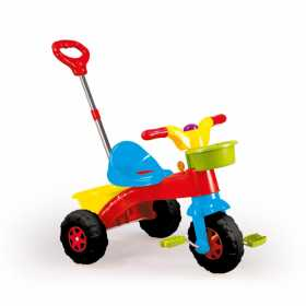 Tricicleta pentru copii cu pedale si cosulet, prevazut cu maner reglabil pentru impins de catre adulti Dolu